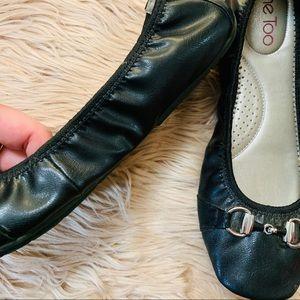 me too Shoes - Me Too | Black Cinched Comfy Ballet Flats - Size 8